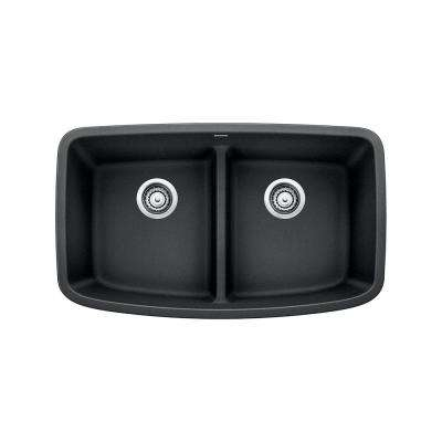 VALEA Undermount Granite Composite 32 in. Equal Double Bowl Kitchen Sink in Anthracite