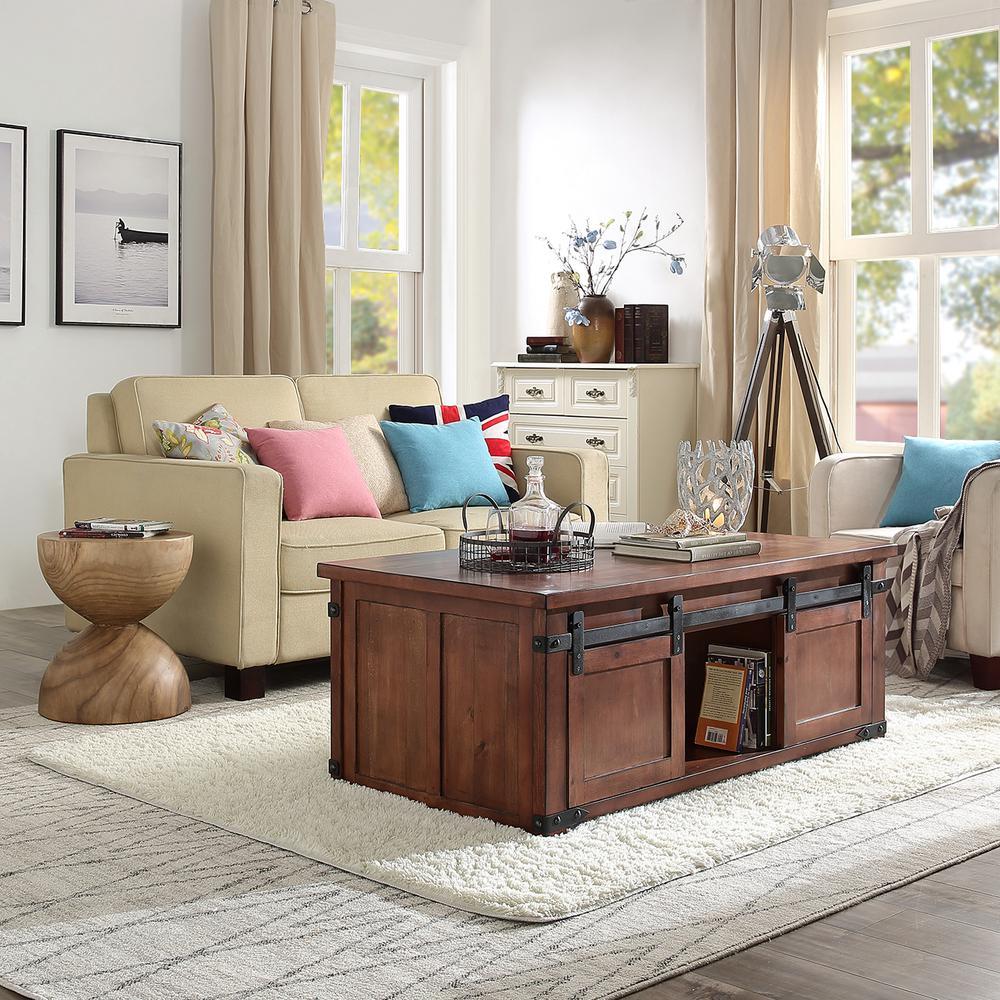 Brown Industrial Barn Door Coffee Table with Storage