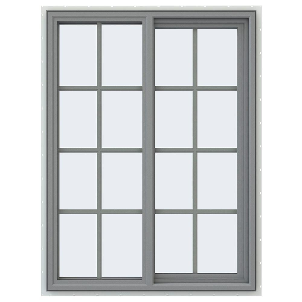 JELD-WEN 35.5 in. x 47.5 in. V-4500 Series Right-Hand Sliding Vinyl Window with Grids - Gray