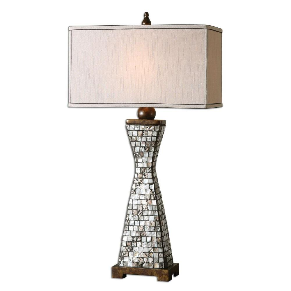 Global Direct 33 in. Shell Inlay Charcoal Gray Grout and Bronze Table Lamp
