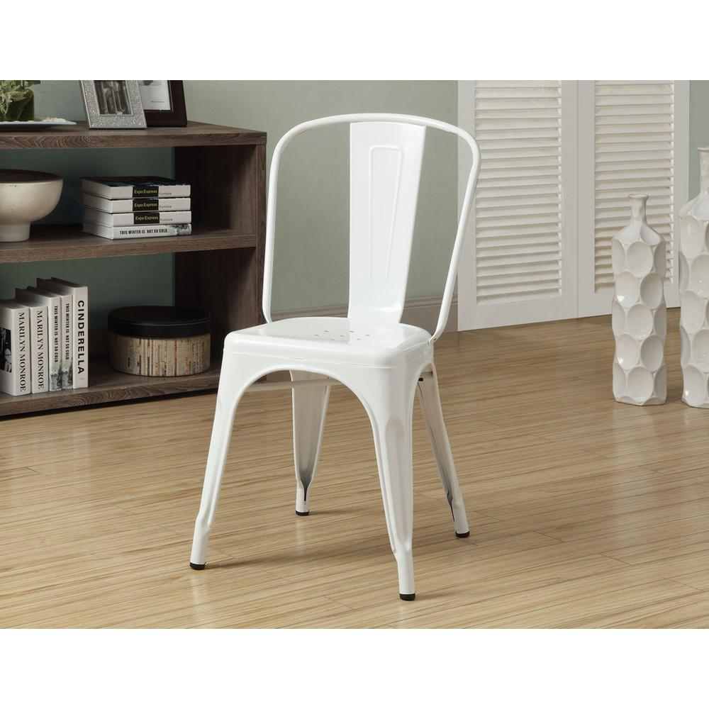 Monarch Specialties Glossy White Metal Dining Chair (Set Of 2)