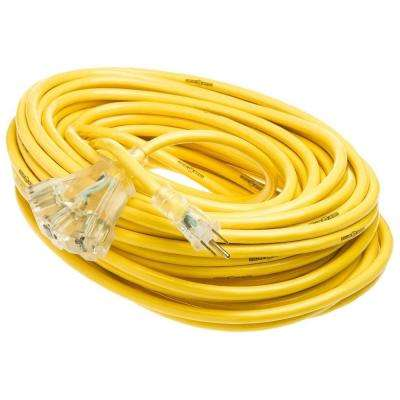 100 ft. 12/3 SJTW Multi-Outlet (3) Outdoor Heavy-Duty 15 Amp Contractor Extension Cord with Power Light Block