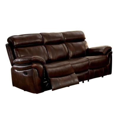 Kinsley 37.75 in. Brown Solid Leather 3-Seat Motion Sofa with Reclining