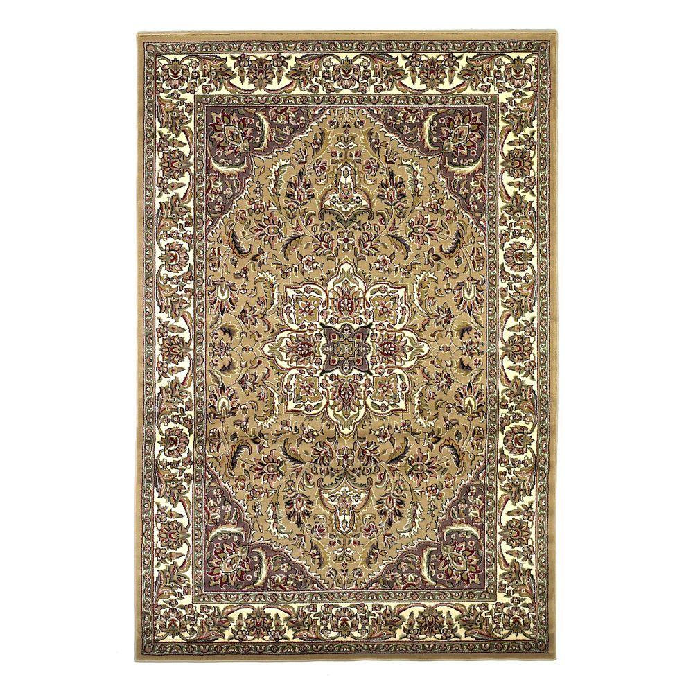 Classic Medallion Beige/Ivory 5 ft. 3 in. x 7 ft. 7
