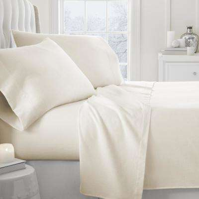 Solid Flannel 4-Piece Ivory Full Bed Sheet Set