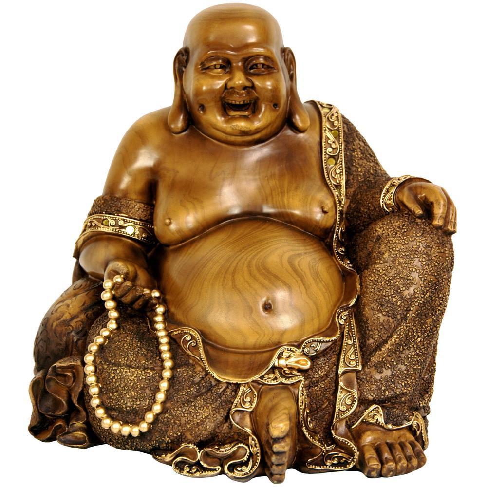 Oriental Furniture 10 in. Sitting Hotei Happy Buddha Decorative Statue