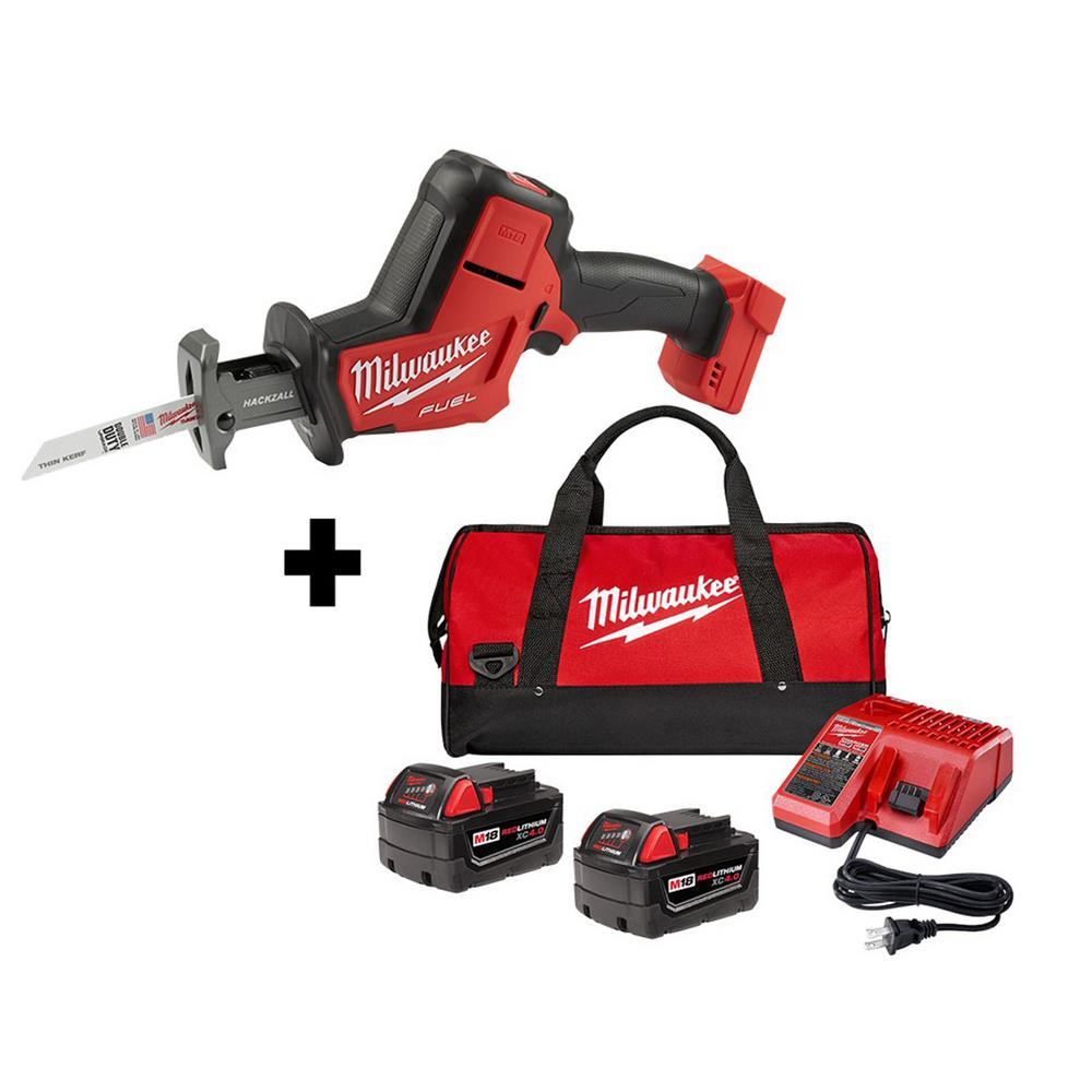 Milwaukee M18 FUEL 18-Volt Lithium-Ion Brushless Cordless HACKZALL Reciprocating Saw w/ Two 4.0 Ah Batteries, Charger and Bag
