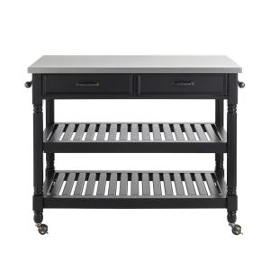 Home Styles Savannah Black Kitchen Cart With Stainless Top ...
