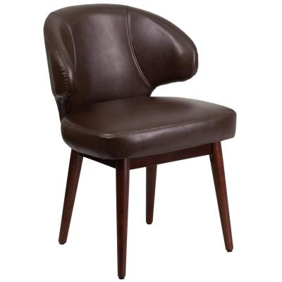 Comfort Back Series Brown Leather Reception-Lounge-Office Chair with Walnut Legs