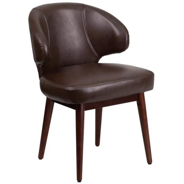 Flash Furniture Comfort Back Series Brown Leather Reception-Lounge-Office Chair