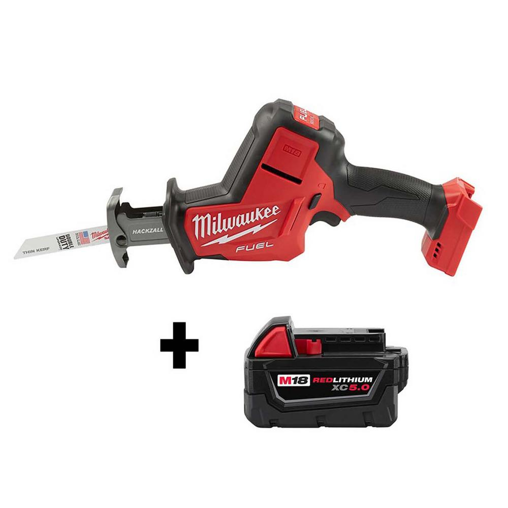Milwaukee M18 FUEL 18-Volt Lithium-Ion Brushless Cordless HACKZALL Reciprocating Saw W/ Free M18 5.0 Ah Battery