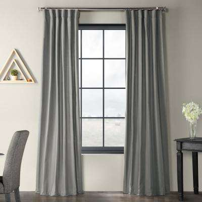 Shadow Grey Solid Country Cotton Linen Weave Curtain - 50 in. W x 96 in. L