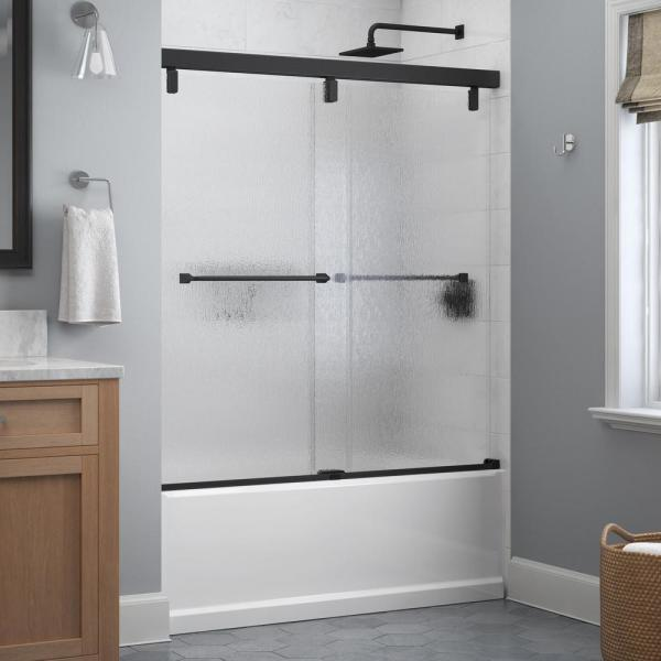 Everly 60 in. x 59-1/4 in. Mod Semi-Frameless Sliding Bathtub Door in Matte Black and 1/4 in. (6mm) Rain Glass