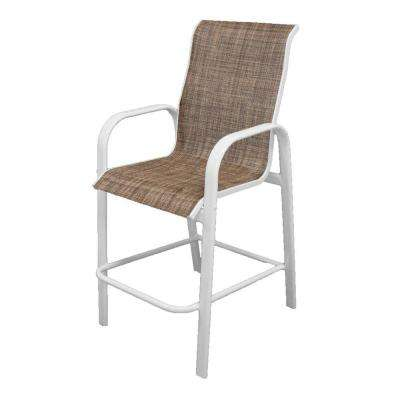 Marco Island White Commercial Grade Aluminum Bar Height Patio Dining Chair with Chesterfield Sling