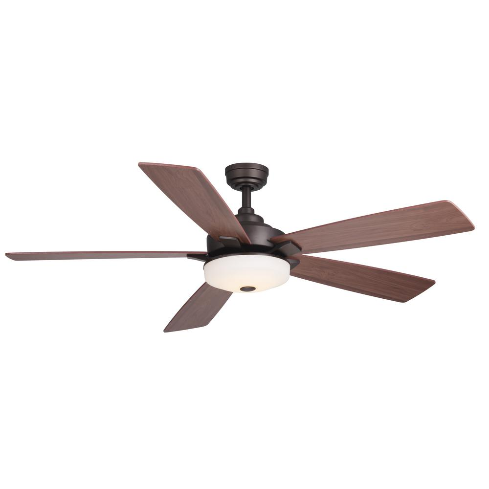 Home Decorators Collection Cameron 54 In Integrated Led Indoor Oil Rubbed Bronze Ceiling Fan