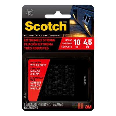 Scotch 1 in. x 1 in. Black Extreme Fasteners (6 Sets-Pack)