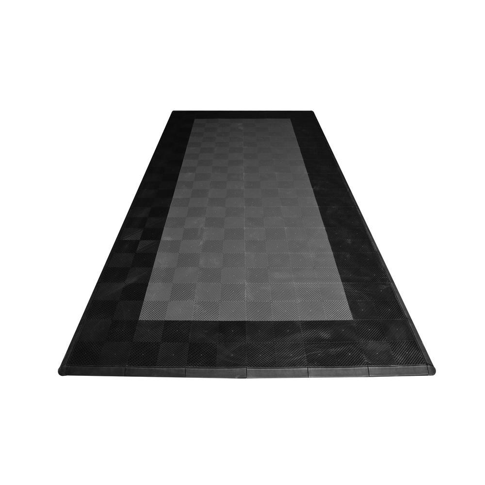 8.3 ft. x 17.5 ft. Grey with Black Border Ribtrax Smooth Eco Flooring, Single Car Pad Kit