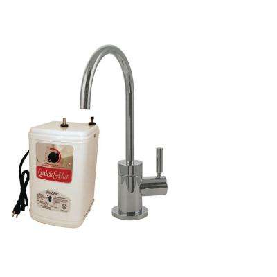 Contemporary Single-Handle Hot and Cold Water Dispenser Faucet in Satin Nickel with Instant Hot Tank