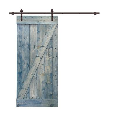 Z Bar Series 42 in. x 84 in. Solid Denim Blue Stained Pine Wood Interior Sliding Barn Door with Hardware Kit