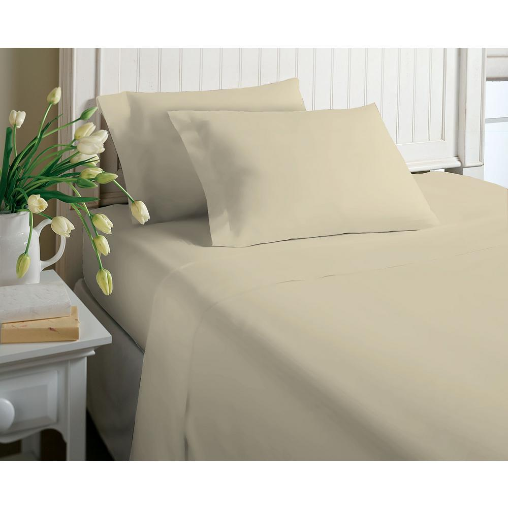 6-Piece Beige Solid Cotton Rich Full Sheet Set
