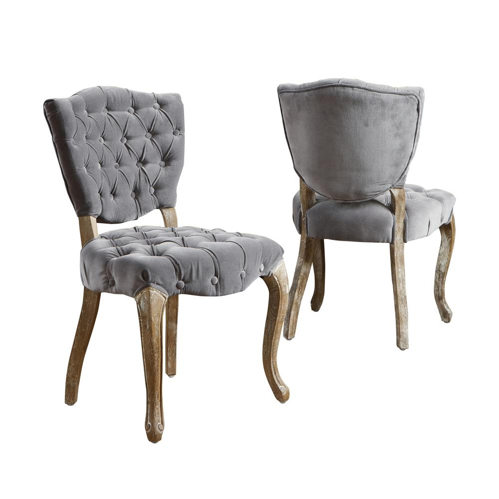 Noble House Bates Grey Fabric Tufted Dining Chairs Set Of 2 230347