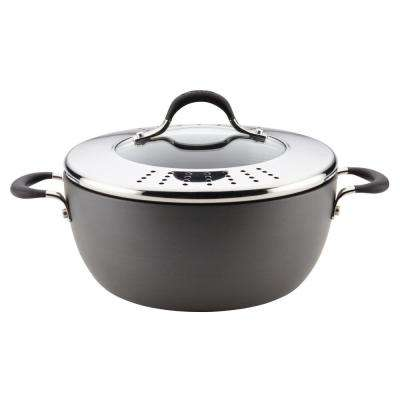 Momentum Hard-Anodized Nonstick Covered Casserole with Lock 'n' Strain Lid, 5.5-Quart, Gray