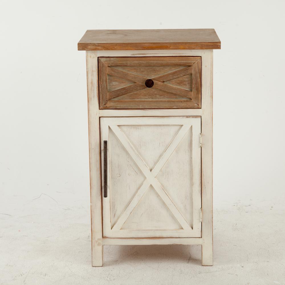 Rustic Antique White Console Cabinet