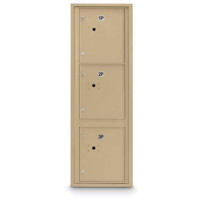 3-Parcel Door Locker 4C Front Loading Mailbox in Sandstone