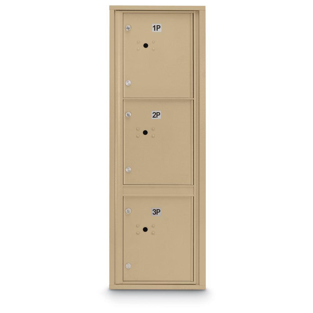 3-Parcel Door Locker 4C Front Loading Mailbox in Sandstone