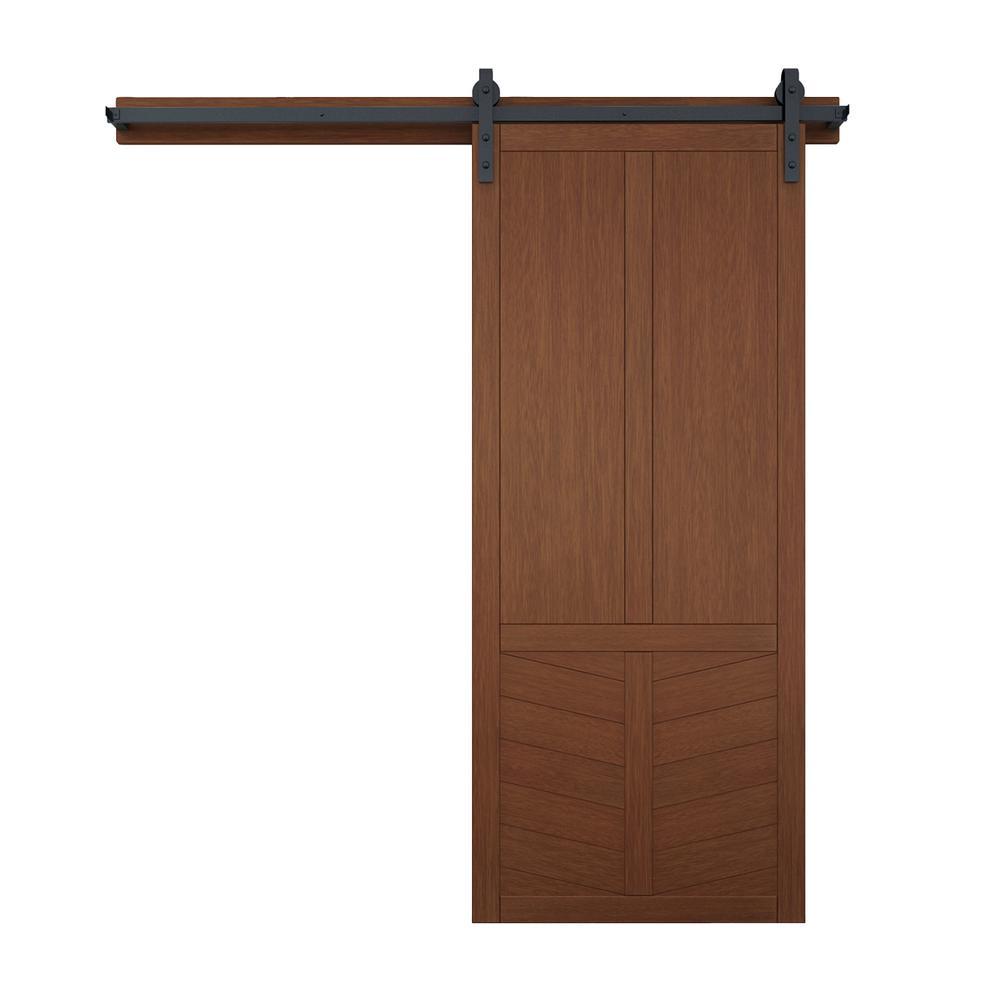 42 in. x 84 in. The Robinhood Terrace Wood Barn Door with Sliding Door Hardware Kit