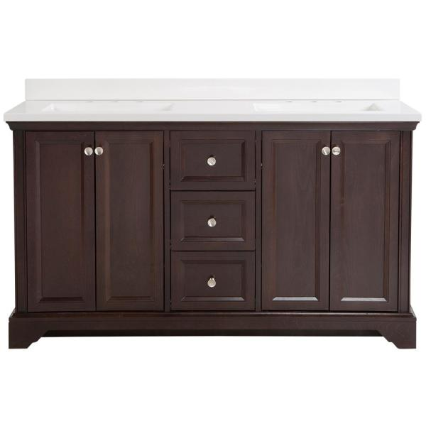 Stratfield 61 in. W x 22 in. D Bath Vanity in Chocolate with Cultured Marble Vanity Top in White with White Sinks