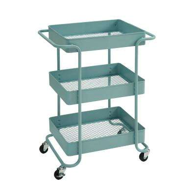 Quinn 3-Tier Steel Open Cart in Matte Blue