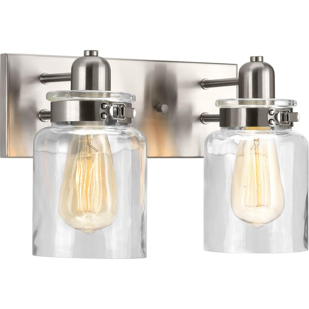 Calhoun Collection 2-Light Brushed Nickel Vanity Light with Clear Glass Shades