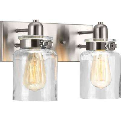 Calhoun Collection 2-Light Brushed Nickel Bathroom Vanity Light with Glass Shades