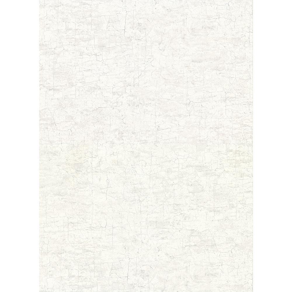 60.8 sq. ft. Pembroke White Faux Plaster Wallpaper