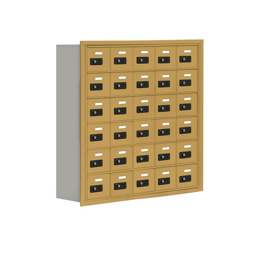 Salsbury Industries 19000 Series 37 in. W x 36.5 in. H x 8.75 in. D 30 A Doors R-Mount Resettable Locks Cell Phone Locker in Gold