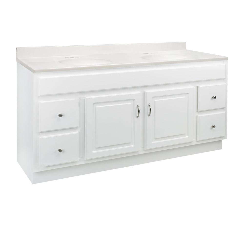 Design House 60 in. x 21 in. x 30 in. Bath Vanity in White w/ 4 in. Centerset White on White CM Double Basin Vanity Top