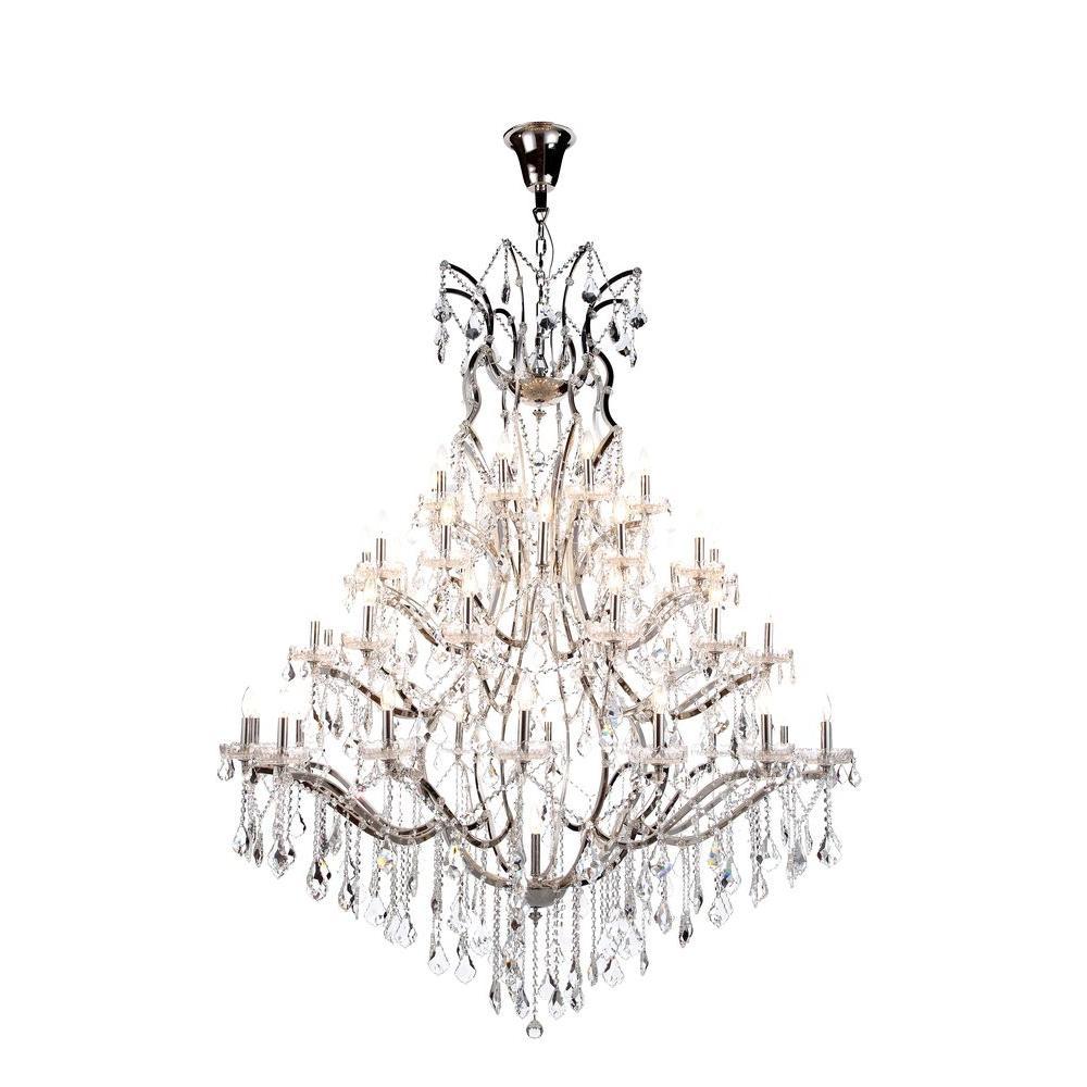 Elena 49-Light Polished Nickel Royal Cut Crystal Clear Pendant