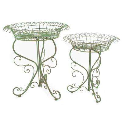 Antique Green Iron Round Plant Stand (Set of 2)