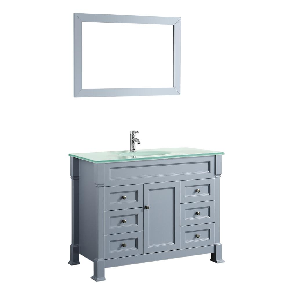 Bosconi Bosconi 43 in. W Single Bath Vanity in Grey with Tempered Glass Vanity Top in White with White Basin and Mirror