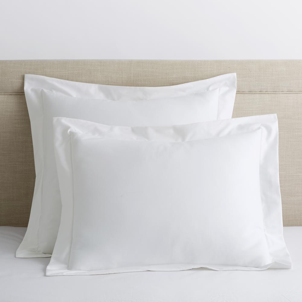 Organic White Solid 300-Thread Count Cotton Sateen Standard Sham