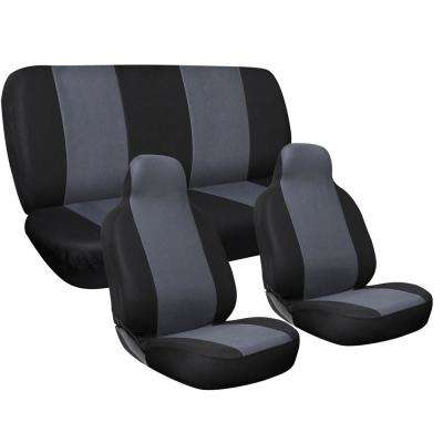 Polyester Seat Covers Set 24 in. L x 21 in. W x 40 in. H 3-Piece Complete Car Seat Cover Set Gray and Black