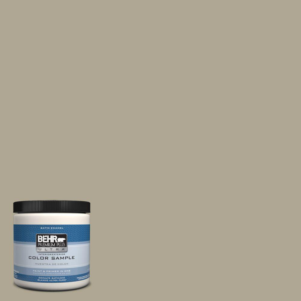 Behr premium plus ultra 8 oz ppu8 19 stone walls interior exterior satin enamel paint sample - Exterior satin wood paint property ...