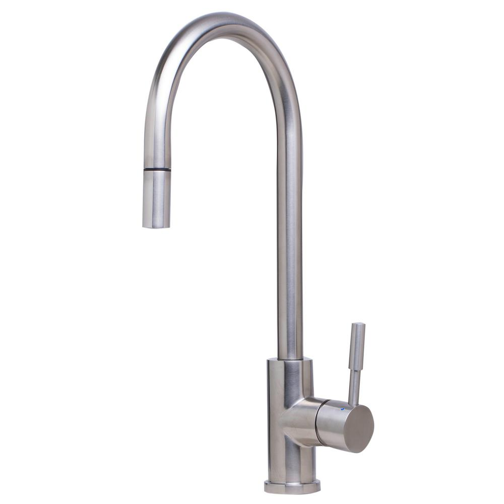 ALFI BRAND Single-Handle Pull-Down Sprayer Kitchen Faucet in Brushed  Stainless Steel