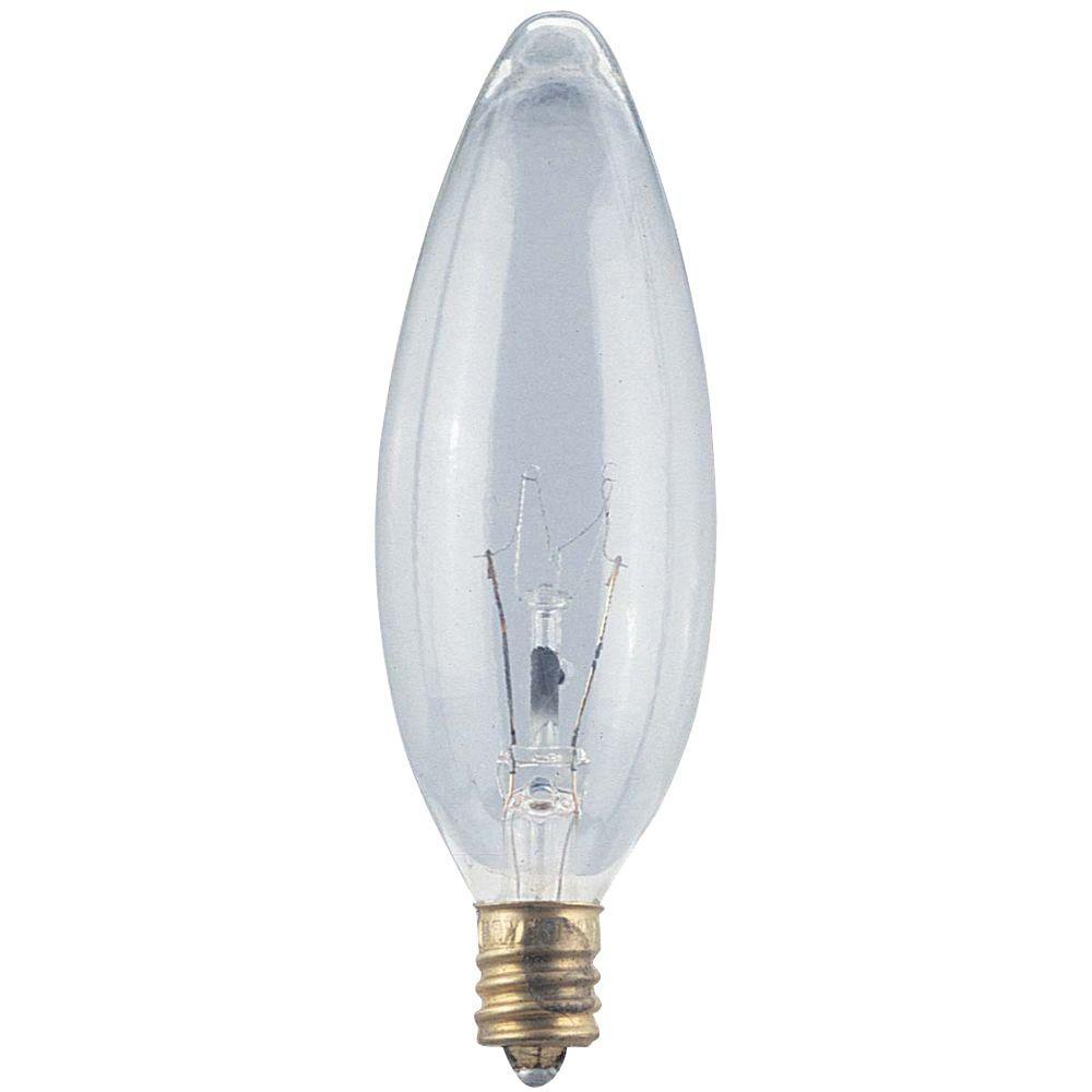 Globe Electric 40-Watt Incandescent B10 Clear Candelabra Base Chandelier Light Bulb (6-Pack)