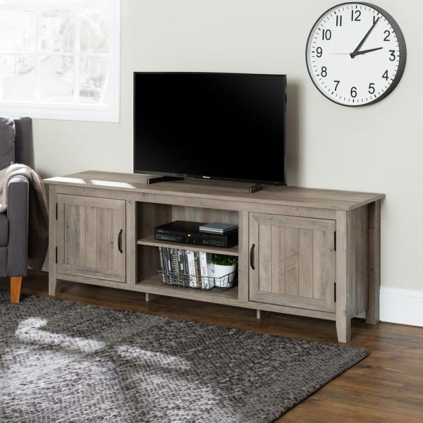 Walker Edison Furniture Company 70 in. Grey Wash Modern Farmhouse Entertainment Center TV Stand Storage Console with Doors and Center Shelving
