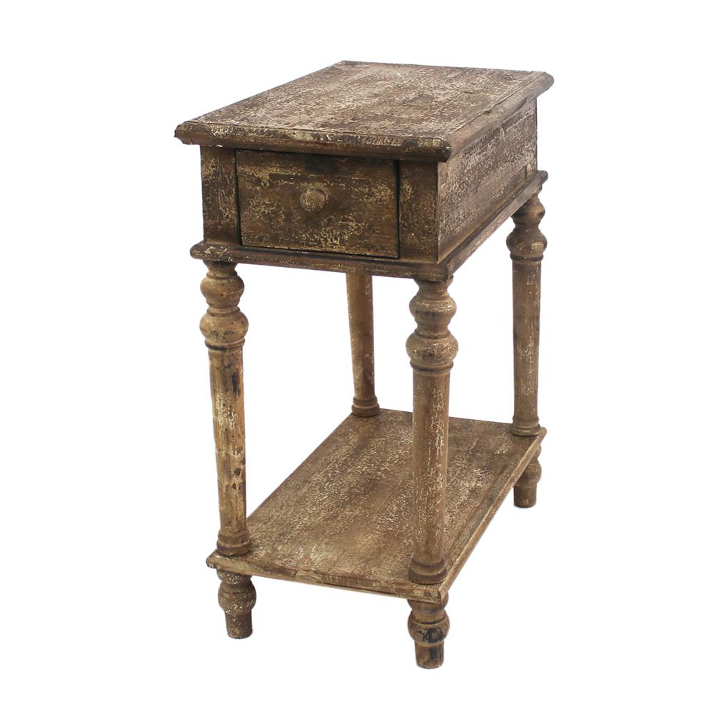 Brown Wood End Table with Drawer