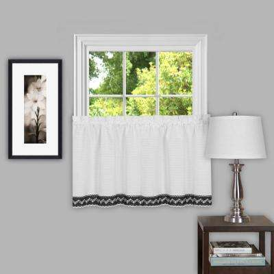Sheer Camden 36 in. L Polyester Window Curtain Tier Pair in Black