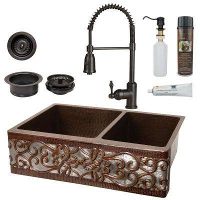 All-in-One Copper 33 in. 60/40 Double Bowl Scroll Kitchen Farmhouse Apron Front Sink with Spring Faucet in ORB and NI