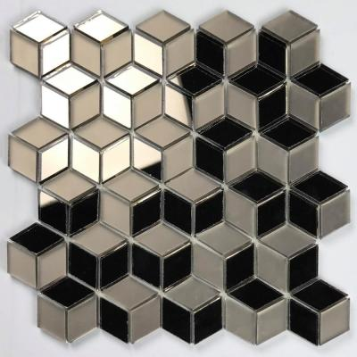 Musico Gold Diamond Mosaic 2 in. x 2 in. Glossy & Matte Glass Peel & Stick Wall Tile (7 Sq. ft./Case)